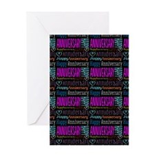 Happy Anniversary Text Pattern Greeting Card