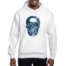 Blue Chrome Skull Hoodie