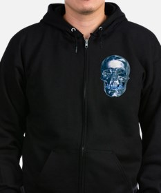 Blue Chrome Skull Zipped Hoodie