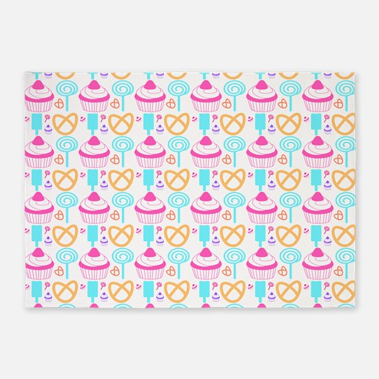 Colorful Cupcake Sweets 5'x7'Area Rug