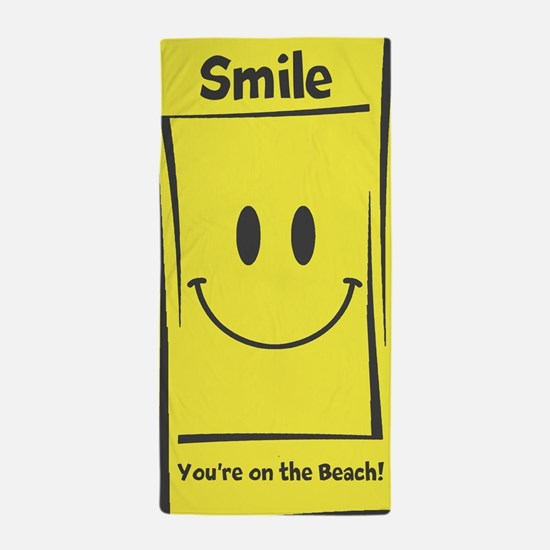 Personalize Smiley Face Beach Towel