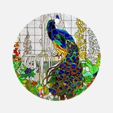 Stained Glass Peacock Round Ornament