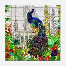 Stained Glass Peacock Tile Coaster