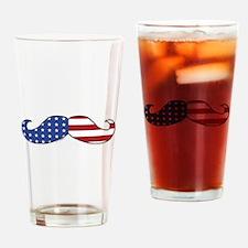 Patriotic Mustache Drinking Glass