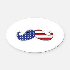 Patriotic Mustache Oval Car Magnet