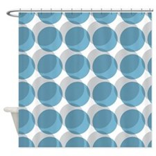 Abstract Blue and Gray Dots Shower Curtain