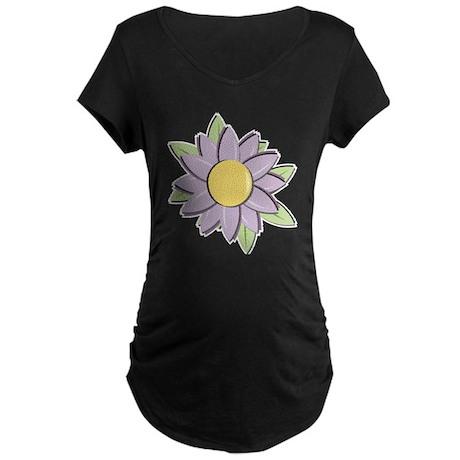 Purple Cartoon Flower Spring Maternity Dark T-Shir