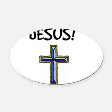 I Found Jesus...winning Oval Car Magnet