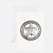 Tombstone Sheriff Badge Greeting Cards