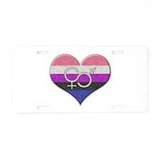 Genderfluid Pride Heart Aluminum License Plate