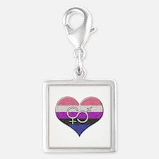 Gender Fluid Pride Heart Silver Square Charm