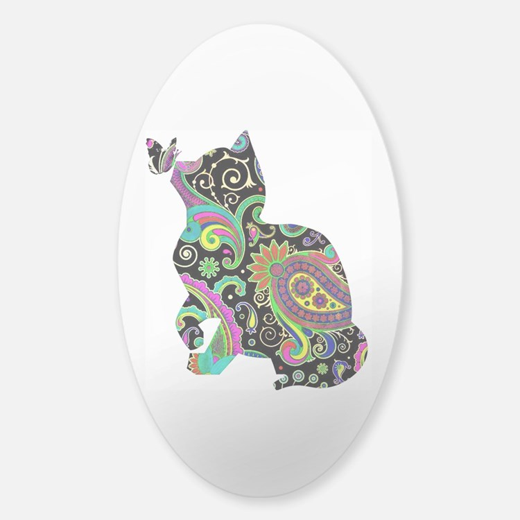 Paisley cat and butterfly Decal
