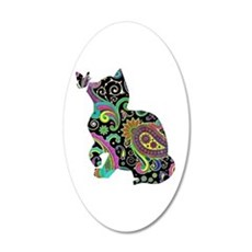Paisley cat and butterfly Wall Decal