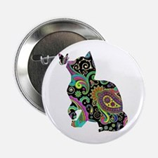 "Paisley cat and butterfly 2.25"" Button"