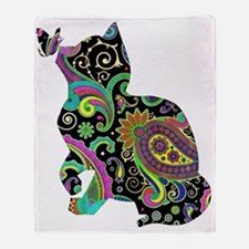Paisley cat and butterfly Throw Blanket
