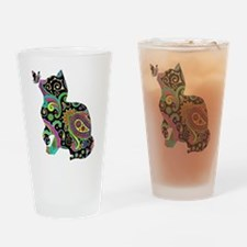 Paisley cat and butterfly Drinking Glass