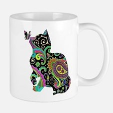 Paisley cat and butterfly Mugs