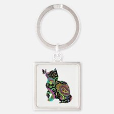 Paisley cat and butterfly Keychains