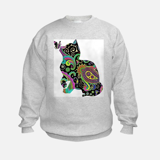 Paisley cat and butterfly Sweatshirt
