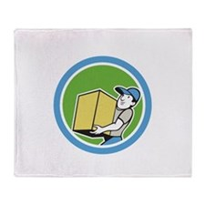 Delivery Worker Carrying Package Cartoon Throw Bla