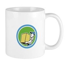 Delivery Worker Carrying Package Cartoon Mugs