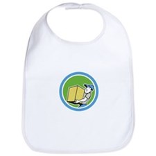 Delivery Worker Carrying Package Cartoon Bib