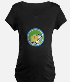 Delivery Worker Carrying Package Cartoon T-Shirt