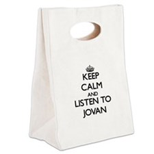 Keep Calm and Listen to Jovan Canvas Lunch Tote