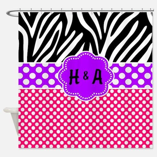Pink Purple Zebra Dots Personalized Shower Curtain