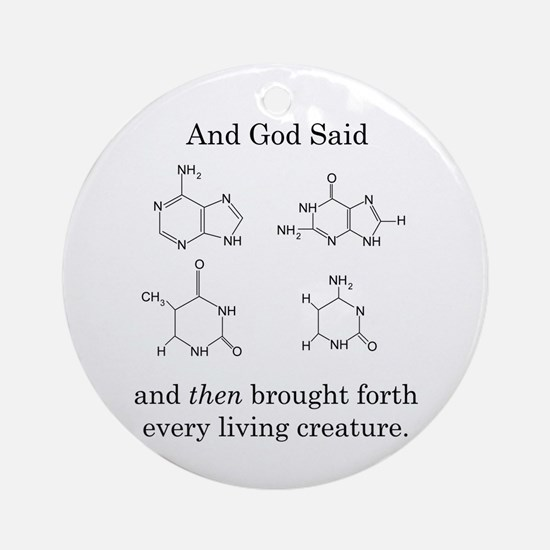 God Created DNA Ornament (Round)