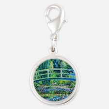Monet - Water Lily Pond Silver Round Charm