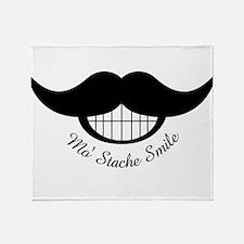 Mustache Smile Throw Blanket
