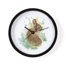 Cute Watercolor Bunny Rabbit Animal Art Wall Clock