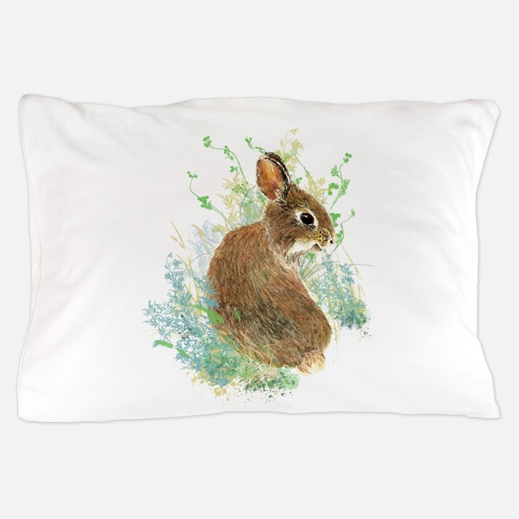 Cute Watercolor Bunny Rabbit Animal Art Pillow Cas
