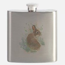 Cute Watercolor Bunny Rabbit Animal Art Flask