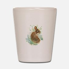 Cute Watercolor Bunny Rabbit Animal Art Shot Glass