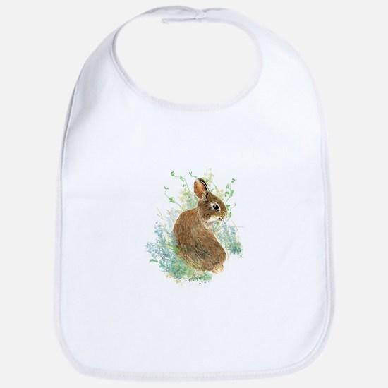 Cute Watercolor Bunny Rabbit Animal Art Bib
