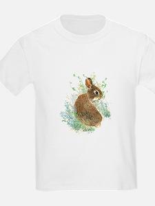Cute Watercolor Bunny Rabbit Animal Art T-Shirt