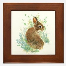 Cute Watercolor Bunny Rabbit Animal Art Framed Til