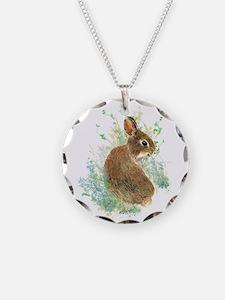 Cute Watercolor Bunny Rabbit Animal Art Necklace