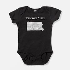 Custom Distressed Pennsylvania Silhouette Baby Bod