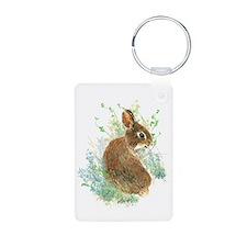 Cute Watercolor Bunny Rabbit Animal Art Keychains