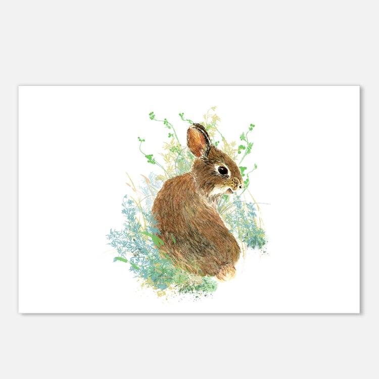 Cute Watercolor Bunny Rabbit Animal Art Postcards