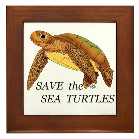 Save the Sea Turtles Framed Tile