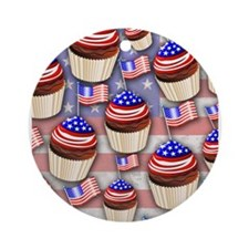 USA Flag Cupcakes Pattern Ornament (Round)