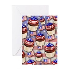 USA Flag Cupcakes Pattern Greeting Cards