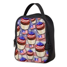USA Flag Cupcakes Pattern Neoprene Lunch Bag