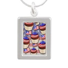 USA Flag Cupcakes Pattern Necklaces