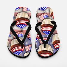 USA Flag Cupcakes Pattern Flip Flops