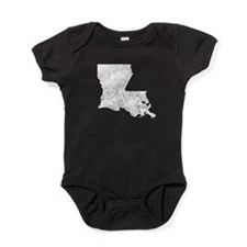 Distressed Louisiana Silhouette Baby Bodysuit
